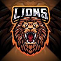 Lion head esport mascot logo design vector