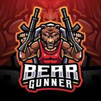 Bear gunner esport mascot logo vector