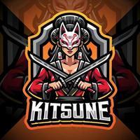 Kitsune girl esport mascot logo design vector