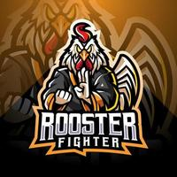 Rooster fighter esport mascot logo design vector