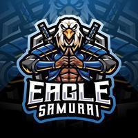 Eagle samurai esport mascot logo design vector