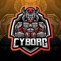 Cyborg esport mascot logo design vector