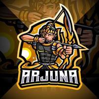 Arjuna archer esport mascot logo design vector