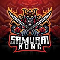 Samurai kong esport mascot logo vector