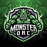 diseño de logotipo de mascota monster orc esport vector