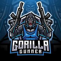 Gorilla gunners esport mascot logo design vector