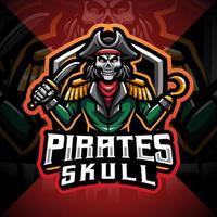 Skull pirates mascot gaming logo design vector