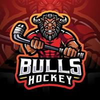 Bulls hockey esport mascot logo vector