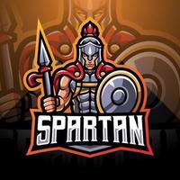 Spartan esport mascot logo design vector