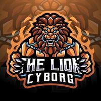 The Lion cyborg esport mascot logo design vector