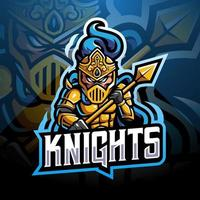 diseño de logotipo de mascota knight esport vector