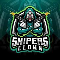 francotiradores payaso esport mascota diseño de logotipo vector