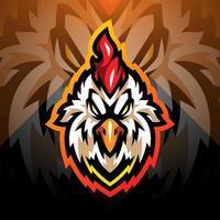 Rooster head esport mascot logo design vector