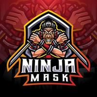 Ninja mask esport mascot logo design vector