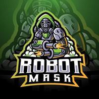 máscara de robot esport logo diseño de mascota vector