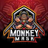 Monkey mask esport mascot logo design vector