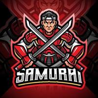diseño de logotipo de mascota samurai esport vector