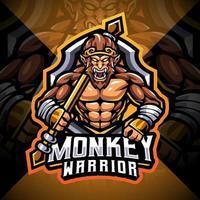 Monkey warrior esport mascot logo design vector