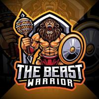 el guerrero bestia, diseño de logotipo de mascota de esport vector