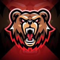 Bear head esport mascot logo design vector