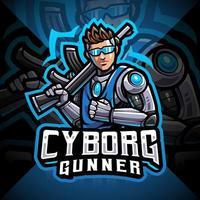Cyborg gunners esport mascot logo design vector