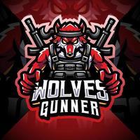 Wolves gunner esport mascot logo design vector
