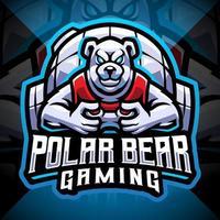 Polar bear gaming esport mascot logo design vector