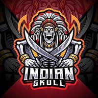 Indian skull esport mascot logo vector