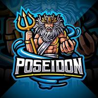 Poseidon esport mascota diseño de logotipo con arma tridente vector