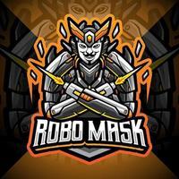 Robo mask esport mascot logo design vector
