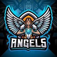 diseño de logotipo de mascota de angels esport vector