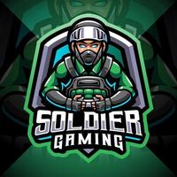 Soldier gaming esport mascot logo vector