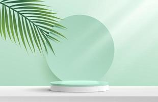 Modern white, green cylinder pedestal podium. Green pastel circle backdrop with green coconut leaf. Abstract vector rendering 3d shape product display presentation. Minimal wall scene. Summer concept.