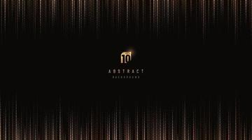 Abstract luxury vertical glowing dot gold and black pattern background with copy space. Digital data technology halftone texture pixel design. Modern futuristic concept. Vector illustration