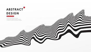 Optical art wavy stripes pattern. Abstract flowing stripes lines black and white contrast background with copy space. Modern and minimal banner design. Vector illustration