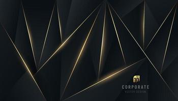 Abstract dark polygon design. Premium black background with luxury triangles pattern and gold lighting lines decorate. You can use for cover brochure template, poster, banner web, print ad. Vector EPS