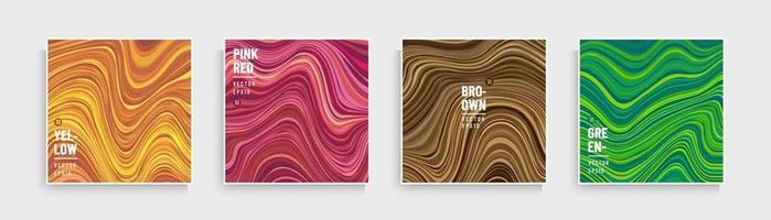 Set of trendy color optical art wavy stripes pattern. Abstract flowing stripes lines yellow, orange, pink, brown and green background . Modern and minimal banner design. Marble collection design. vector