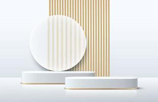 Modern white and gold cube pedestal podium. Silver color minimal wall scene with geometric shape backdrop. Vector rendering 3d shape, Product display presentation. Abstract room, Platform design.