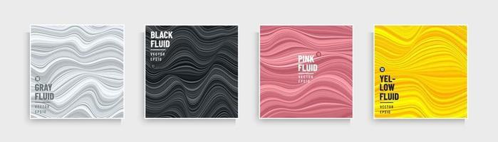 Set of trendy color optical art wavy stripes pattern. Abstract flowing stripes lines white, black, pink, pink gold and yellow background. Modern and minimal banner design. Marble collection design. vector