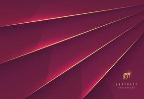 Abstract red maroon metallic glossy background. Overlapping layer shadow with gold stripes line style. luxury and elegant concept. Vector EPS10