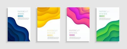 Set of abstract layered wavy shape background with copy space. Blue, yellow, pink, green color paper cut collection design. Modern curve pattern trendy color, Origami concept. Vector illustration