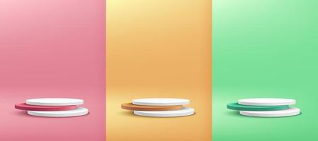 Set of white, green, yellow, pink round cylinder pedestal podium display on empty room background. Abstract modern vector rendering 3d shape for cosmetic products presentation. Pastel minimal scene.