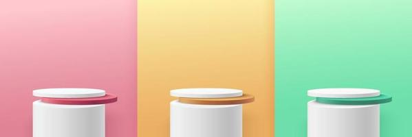 Set of green, yellow, pink round cylinder pedestal podium display on empty room background. Abstract modern vector rendering 3d shape for cosmetic products presentation. Pastel minimal scene room.