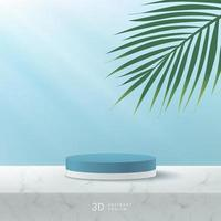 Abstract vector rendering 3D shape for advertising product display with copy space. Modern white, blue cylinder podium with pastel empty room and marble pattern, green coconut leaf background.