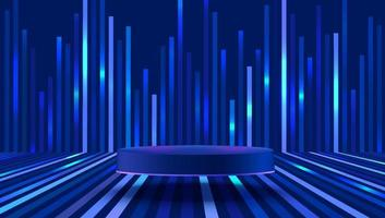 Abstract vector rendering 3d shape for products display presentation. Modern blue cylinder pedestal podium with dark blue empty room and perspective stripes background. Futuristic tech concept.