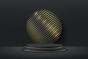 Abstract vector rendering 3d shape for cosmetic products display presentation. Luxury black and gold cylinder pedestal podium with dark empty room and curve gold pattern. Minimal scene studio room.