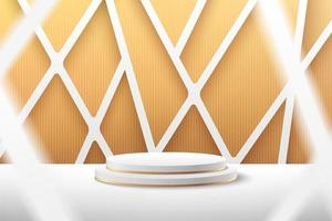 Modern white and gold cylinder podium with empty room and golden geometric overlap background. Abstract vector rendering 3d shape for advertising product display with copy space. Minimal scene concept