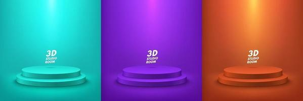 Set of abstract round display for product on website in modern. Background rendering with podium and minimal white texture wall scene, 3d rendering geometric shape green purple and dark orange color. vector