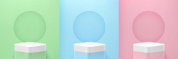 Set of green, blue, pink round cube pedestal podium on Pastel empty room background. Abstract modern vector rendering 3d shape for advertising products display. Minimal scene studio room.