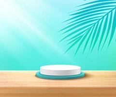 Modern white, blue cylinder podium with pastel empty room and wood texture, green coconut leaf background. Abstract vector rendering 3D shape for advertising product display. Tropical scene concept.